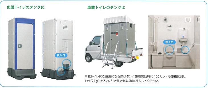 ハマネツ指定の仮設トイレの便槽用防臭防虫剤のニオイもムシも出ないトイレの使用方法です