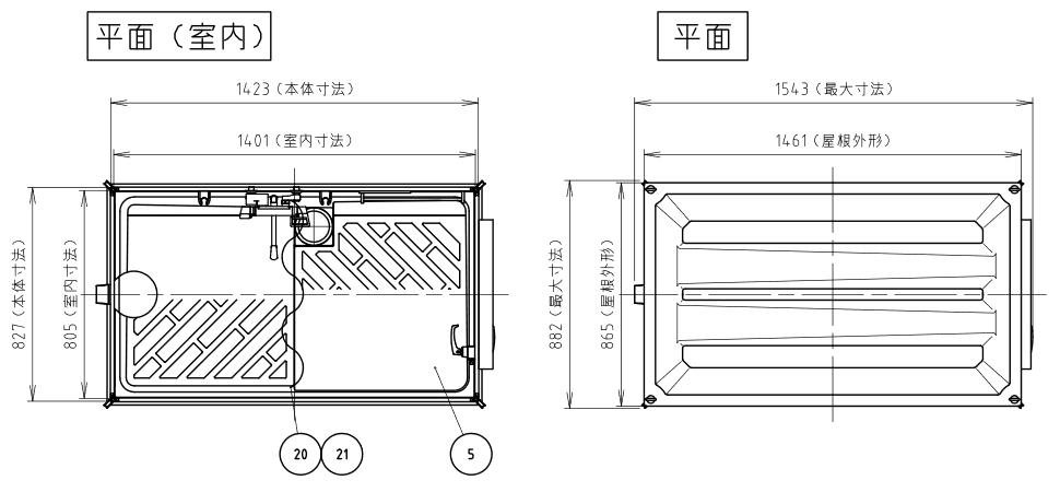 ハマネツの仮設屋外シャワーユニットルアールFS-LU20R仕様図1です