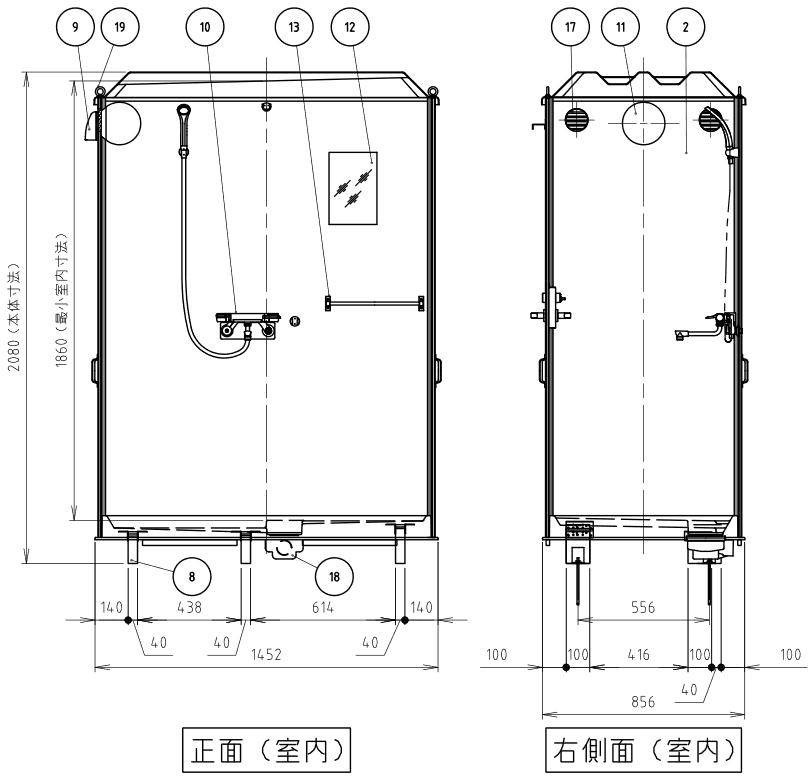ハマネツの仮設屋外シャワーユニットルアールFS-LU20R仕様図3です