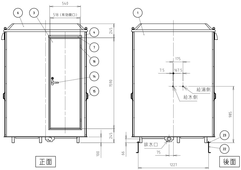 ハマネツの仮設屋外シャワーユニットルアールFS-LU20R仕様図4です