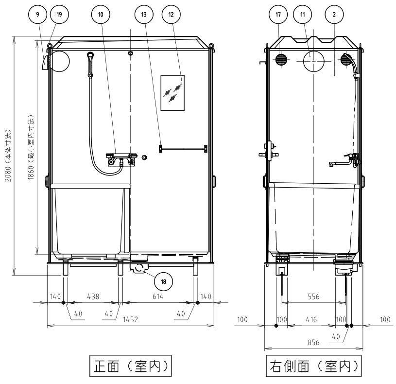 ハマネツの仮設屋外シャワーユニットルアールFS-LU20RBの仕様図3です
