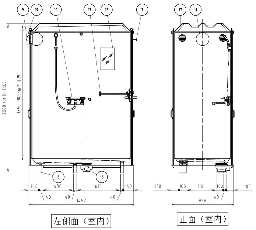 ハマネツの仮設屋外シャワーユニットルアールFS-LU20Sの仕様図3です
