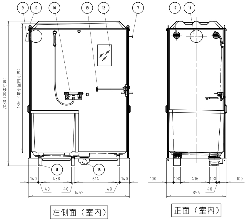 ハマネツの仮設屋外シャワーユニットルアールFS-LU20SBの仕様図3です