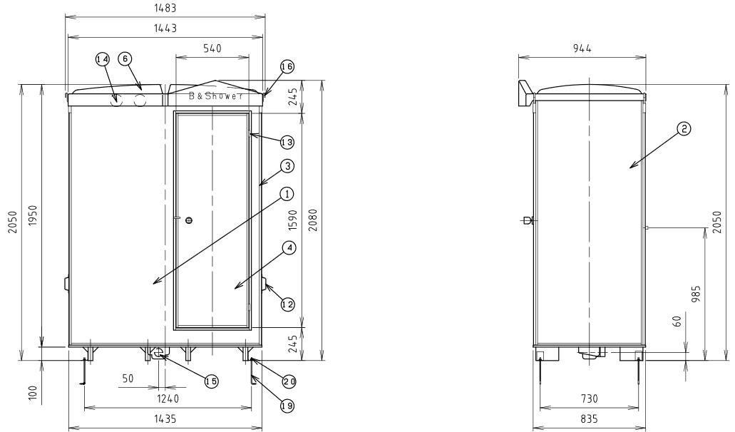ハマネツの仮設屋外シャワーユニットFS2-20Rの仕様図2です