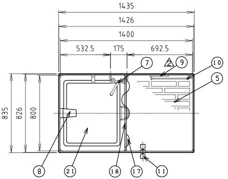 ハマネツの仮設屋外シャワーユニットFS2-20RBの仕様図1です