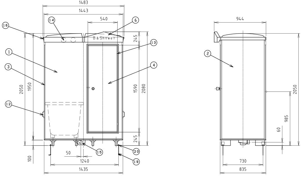 ハマネツの仮設屋外シャワーユニットFS2-20RBの仕様図2です