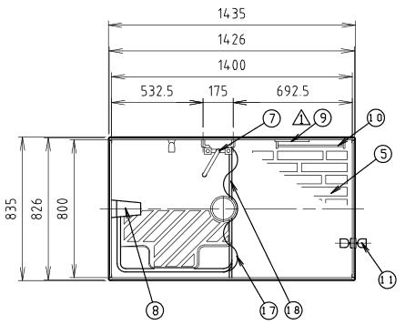 ハマネツの仮設屋外シャワーユニットFS2-20Sの仕様図1です