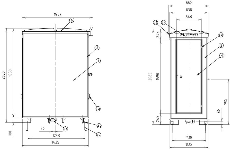 ハマネツの仮設屋外シャワーユニットFS2-20Sの仕様図2です