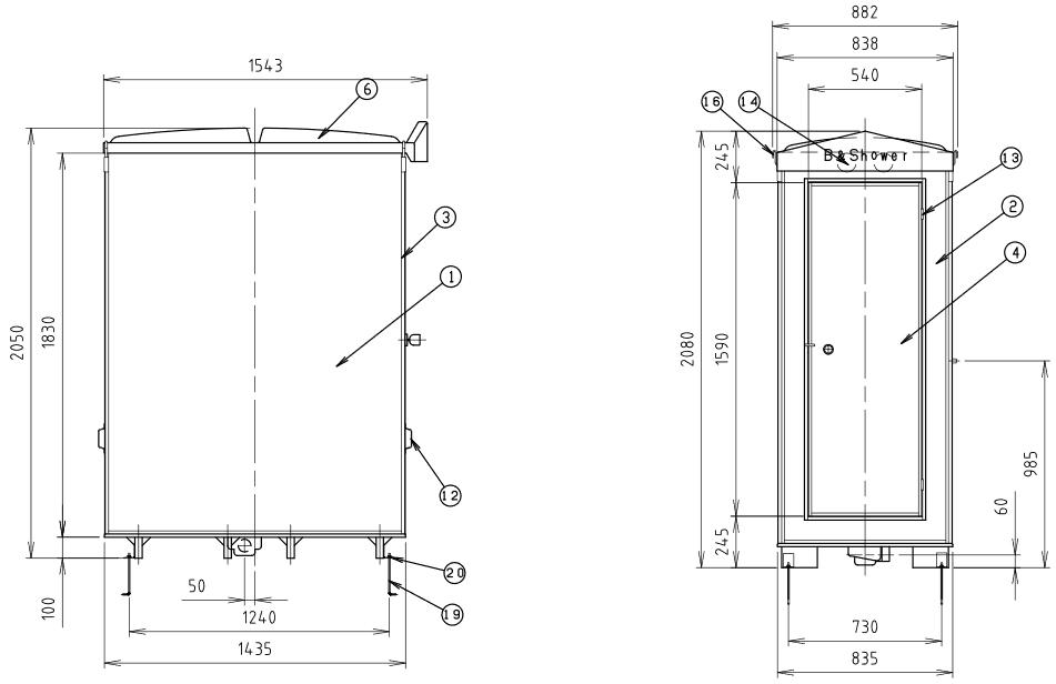 ハマネツの仮設屋外シャワーユニットFS2-20SBの仕様図2です