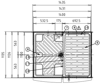 ハマネツの仮設屋外シャワーユニットFS2-23Rの仕様図1です