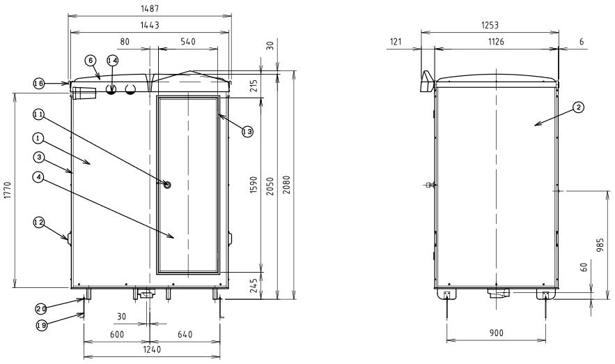 ハマネツの仮設屋外シャワーユニットFS2-23Rの仕様図2です