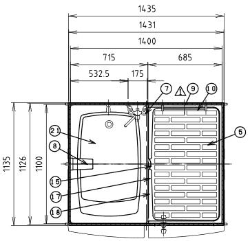 ハマネツの仮設屋外シャワーユニットFS2-23RBの仕様図1です