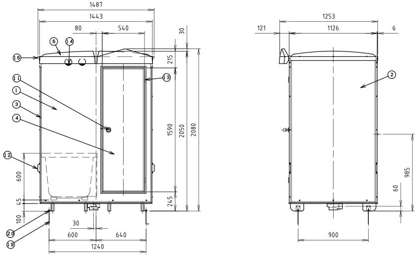 ハマネツの仮設屋外シャワーユニットFS2-23RBの仕様図2です