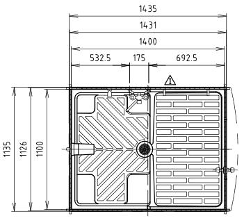 ハマネツの仮設屋外シャワーユニットFS2-23Sの仕様図1です