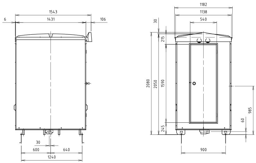 ハマネツの仮設屋外シャワーユニットFS2-23Sの仕様図2です
