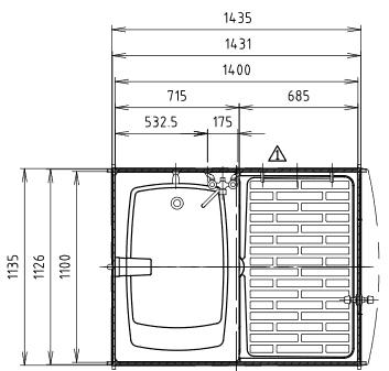 ハマネツの仮設屋外シャワーユニットFS2-23SBの仕様図1です
