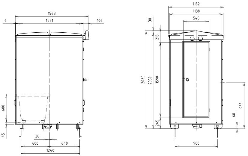 ハマネツの仮設屋外シャワーユニットFS2-23SBの仕様図2です