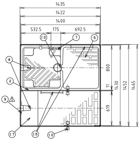 ハマネツの仮設屋外シャワーユニットFS2-25Rの仕様図1です