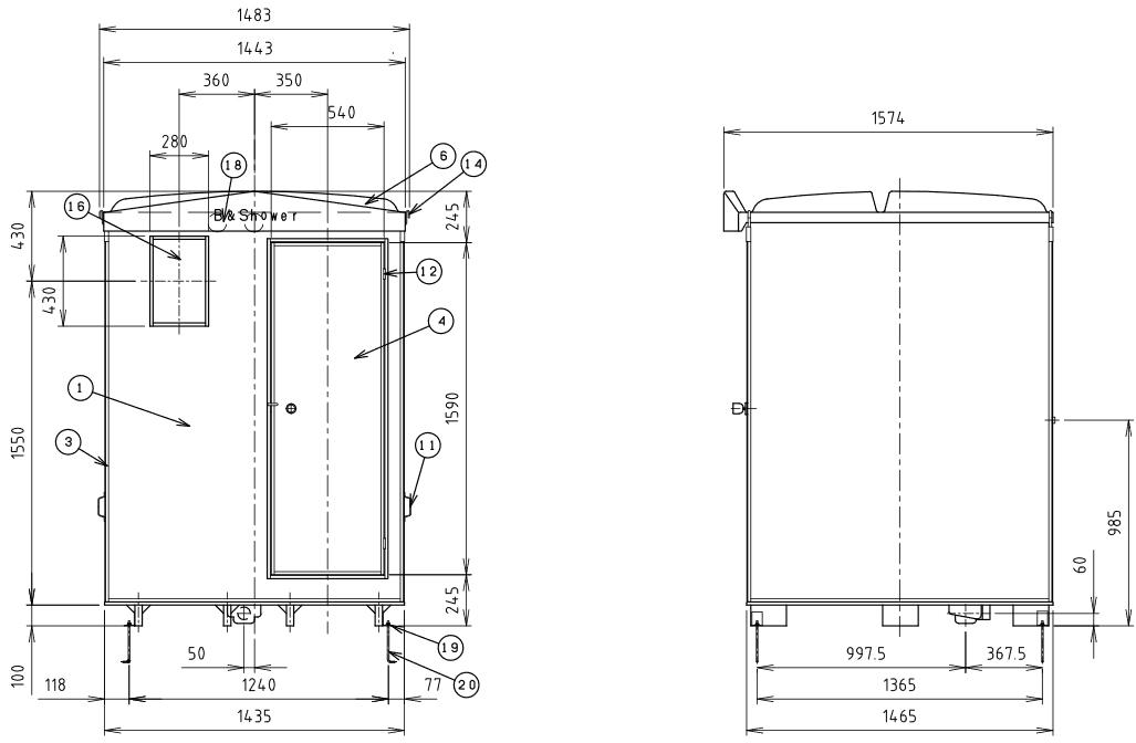 ハマネツの仮設屋外シャワーユニットFS2-25Rの仕様図2です