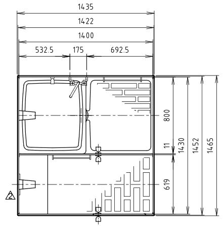 ハマネツの仮設屋外シャワーユニットFS2-25RBの仕様図1です