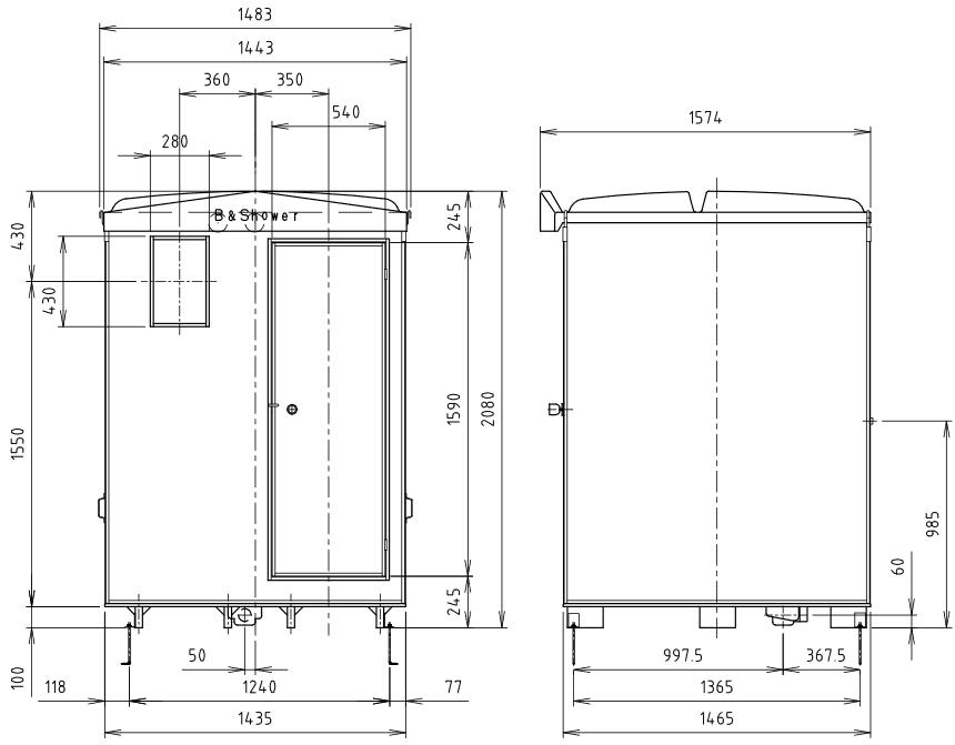 ハマネツの仮設屋外シャワーユニットFS2-25RBの仕様図2です