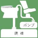 仮設トイレのポンプ式簡易水洗タイプです