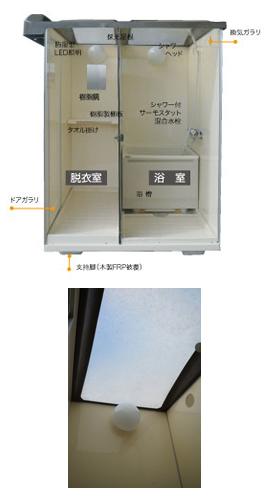 日野興業の仮設屋外シャワーユニットNB-1515Gの詳細です