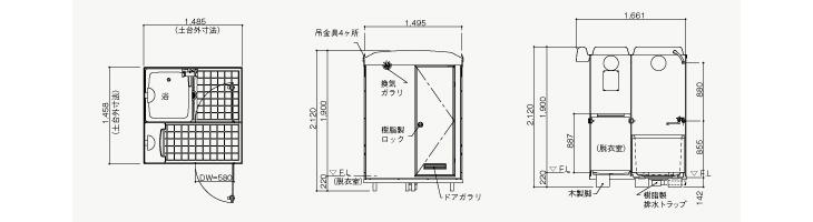 日野興業の仮設屋外シャワーユニットNB-1515Gの図面です
